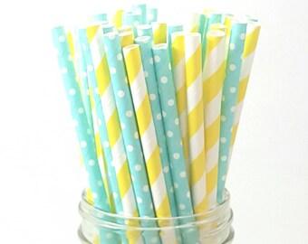 12 Yellow Stripe Paper Straws - Mint Polka Dot Straws    Cake Poo Stems - Party Supplies