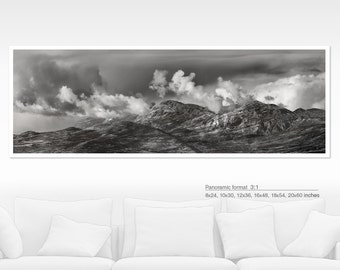 Mountain large art print, panoramic wall art, nature black and white landscape photography art, panoramic photo, large poster, 20x60, 20x40