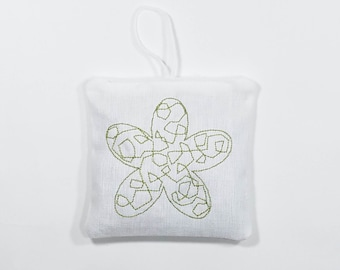 Lavender Sachet: Flower Embroidery - Black and Green - 2 Pack