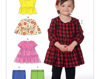 GIRLS CLOTHES PATTERN / Fun Play Clothes - Dress - Top - Leggings / Size 1/2 to 4
