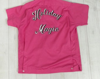 """Vintage 1960s Hilton BOWLING SHIRT Hot Bubblegum Pink Chainstitch """"Holiday Magic"""" women's 36 S M L rockabilly pin-up league team embroidery"""