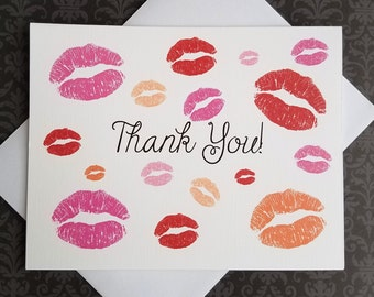 Kiss Lips, Thank You Cards, 8ct