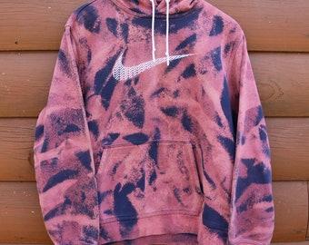 Nike Hoodie Custom Bleached Purple Pink and Blue Acid Wash Sweatshirt