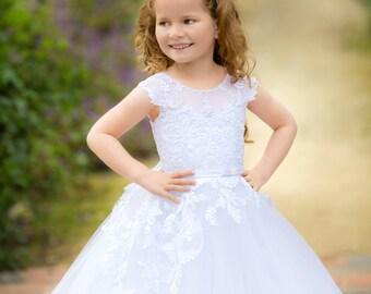 Ivory Flower Girl Dress Ivory Wedding Lace Girl Dress Girl Party Dress Birthday Holiday Dress Ivory Lace Girl Dress Pattern Toddler  Dress