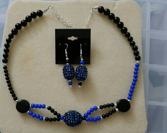 Beautiful handmade Black  and Blue sparkling beaded necklace and earring set.