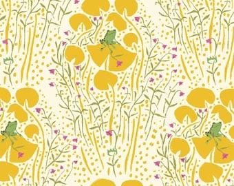 Frog Prince in Yellow, Far Far Away by Heather Ross for Windham Fabrics,  39441-6 OOP VHFT Hoarder's Destash