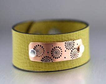 Copper Spiral Leather Cuff Bracelet, Pea Green Cuff, Copper Bracelet, Copper Cuff, Mixed Metal Cuff, Adjustable Bracelet, Mod Leather Cuff