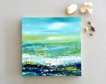 Ocean painting, Abstract landscape, small painting, Acrylic art, small gift