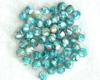 8mm Turquoise Blue Shell Beads Blue Mosaic Shell Beads Mother Of Pearl Beads Turquoise Blue MOP Beads