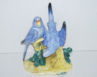 Stangl Bird Figurine Double Parakeets in Blue 3582