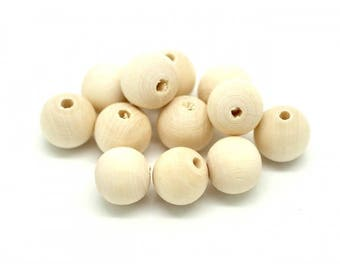 50 wooden beads natural 12mm round