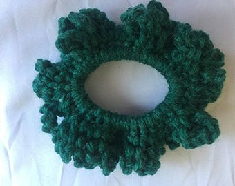 Scrunchy - Hair Scrunchy - Crochet Hair Scrunchy - Yarn Scrunchy - Hunter Green Hair Scrunchy - Hair Accessory - Gift For Her