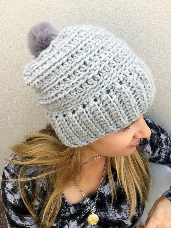 Slouchy Crochet Hat Pattern For Chunky Yarn No240 Digital