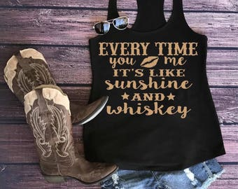 Country tank, Sunshine and whiskey, country music shirt, country tank top, country shirt, country girl, country concert, sunshine and whiske