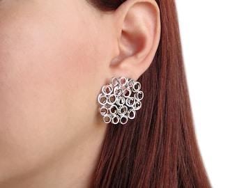 Big round earrings, statement jewelry, sterling silver earring studs,  gift for women, hypoallergenic earring studs, unusual earrings