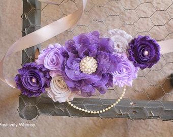 Purple Maternity Sash, Girl Maternity Sash, Purple Maternity Sash, Pregnancy Sash, Baby Shower Sash, Purple, Lavender, Gray, Grape, RTS