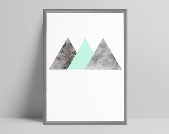 Geometric triangles pastel mint green textured print home decor minimalist abstract, scandi wall art, office decor