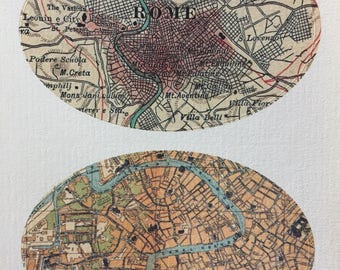 Vintage Maps of Rome and Venice Oval Stickers set of two.