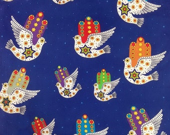 Hamsa Dove of Peace Jewish Judaica Fabric on Blue
