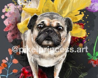 Pug Dog Portrait Art