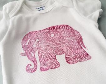 Burgundy Elephant Baby Onesie