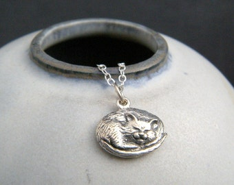 """sleeping silver cat necklace. small sterling silver pet pride pendant. feline love realistic charm gift animal lover simple cat jewelry 1/2"""""""