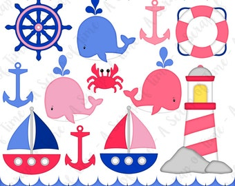 Pink Nautical Digital Clipart - Set of 14 - Sailboat, Anchor, Lighthouse, Whale, Crab  - Instant Download - Item# 9158