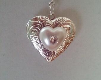Silver Heart Locket Necklace-Etched Silver-White Resin Pearl Heart-Rhinestone-Bridal Locket-Wedding