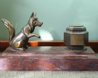 Vintage French Brass Fox Inkwell Marble Base  Writing set