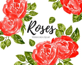 Rose Clipart - Flower Clipart - Floral clipart - Valentines clipart - Red Roses - Commercial Use