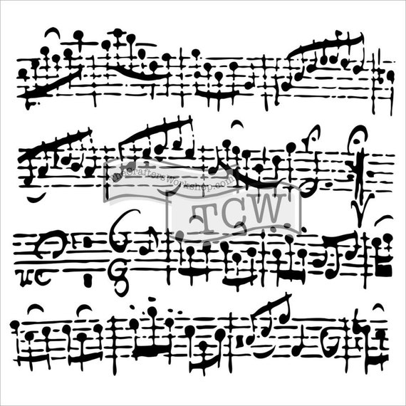 """Sheet Music 6 x 6"""" Stencil /  template design perfect for mixed media, scrapbooking, journaling and so much more"""