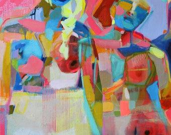 Pink Summer Air / Figurative girl original artwork painting