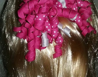 Pink and white Korker hair bow, pink and white hair bow, pink and white bow, pink and white curly ribbon hair bow