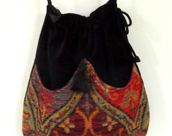 Ethnic Chenille  Boho Bag  Drawstring Bag  Black Velvet Bag  Bohemian Bag  Crossbody Purse