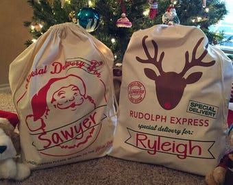Santa sack, christmas sack, christmas, personalized santa sack, reindeer, northpole express
