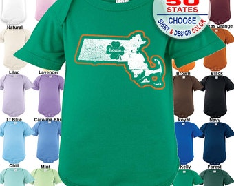 Massachusetts Home State Irish Shamrock Bodysuit - Boys / Girls / Irish / St. Patty's Day