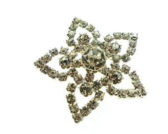 Rhinestone button, metal frame prong set flower shaped 1pc