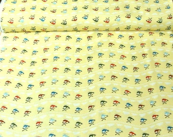 Riley Blake 'DISCOUNTED Price' Scoot C2721 Helicopters on Yellow Patchwork Quilting Fabric