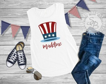 Personalized Uncle Sam Hat Shirt // Ladies 4th of July Shirt // Patriotic Ladies Shirt // Bella Canvas Sleeveless Muscle // Next Level Tank