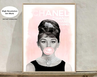 Chanel -Chanel Print - Audrey Hepburn Bubble Gum - Fashion Wall Art - Printable - Gift For Her - Audrey Hepburn - Gift For Her
