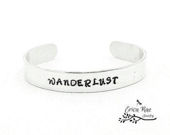 Wanderlust metal stamped bracelet cuff, quote bracelet,  boho bracelet, boho jewelry,  stamped jewelry