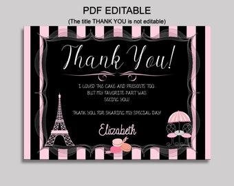Paris Thank You Card Paris Birthday Thank You Black Pink Editable Paris Printable Thank You Girl Eiffel tower oh la la ELNO2