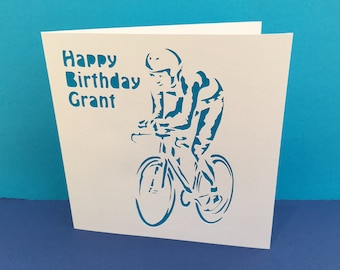 Cycling Card - Birthday Card - Father's Day Card - Cyclist - Bicycle Card - Bike Card - Paper Cut Card - Personalised - Handmade Greeting