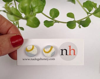 Round earrings -minimalistic simple studs -polymer clay earrings -geometric jewellery - yellow clay studs - silver studs - graphic studs