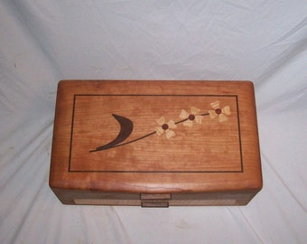 Large Jewelry Box Cherry and Dogwood Design Inlayed .The Elite Collection 16.5''x10''x6''