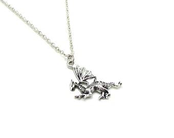 Dragon Necklace, Charm Necklace, Fairytale Dragon, Dragon Pendant, Dragon Jewelry, Fantasy Necklace, Fantasy Jewelry, Dragon Charm, Mythical