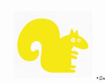 childish squirrel applique yellow fusible