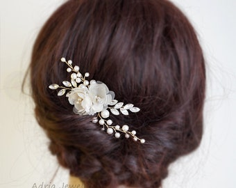 Rose Gold Hairpin, Wedding Hair Accessories, Bridal Headpiece, Rose Gold Flower Headpiece, Flower Headpiece, Bridal Hair Accessories