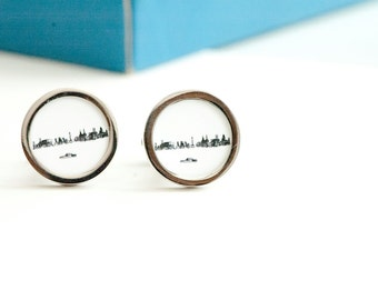 Liverpool city skyline on Cufflinks -  Husband, Weddings, novelty cufflinks,  liverpool silhouette fathers day gift for him