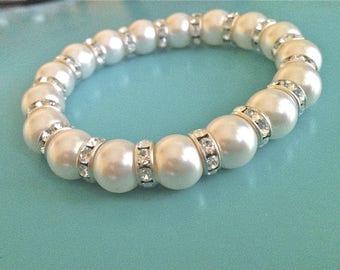 Stunning Swarovski Pearl Bracelet with Silver Plated Preciosa Crystal Rondells _ Bridal Wedding Formal